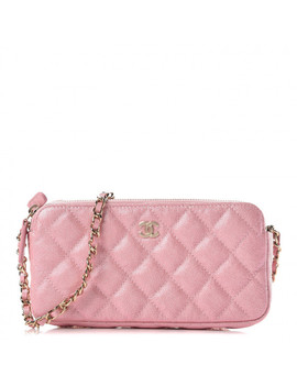 Chanel Iridescent Caviar Quilted Small Clutch With Chain Pink by Chanel
