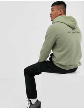 Asos Design Hoodie With Authentic Print In Khaki by Asos Design