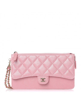 Chanel Iridescent Caviar Quilted Classic Pouch With Handle Rose Pink by Chanel