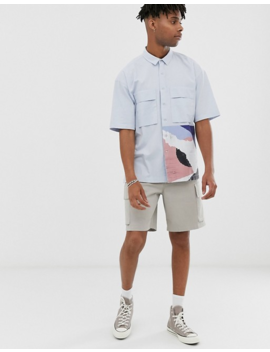Asos White Boxy Shirt In Pastel Blue With Placement Print by Asos White