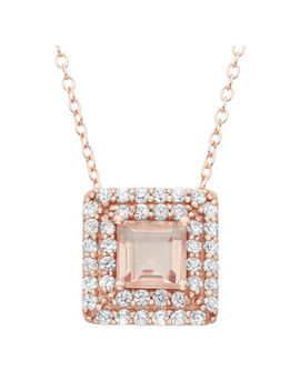 Simulated Morganite & Lab Created White Sapphire 14 K Gold Over Silver Pendant Necklace by Fine Jewelry