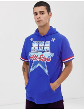 Mitchell &Amp;Amp; Ness 1991 All Star Short Sleeve Hooded Sweat In Blue by Mitchell &Amp; Ness