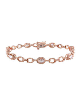 Genuine Morganite 14 K Rose Gold Over Sterling Silver Link Bracelet by Fine Jewelry