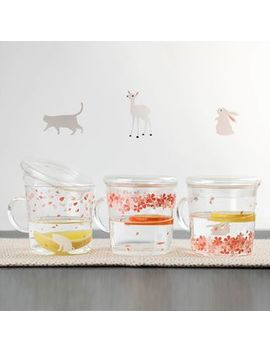 Mimo   Floral Print Drinking Glass With Lid by Mimo
