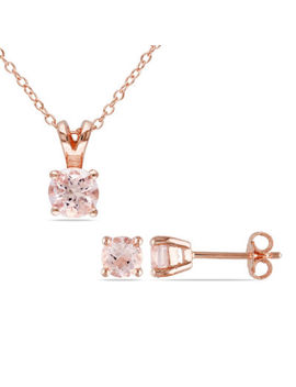 Pink Morganite Rose Tone Sterling Silver Jewlery Set by Fine Jewelry