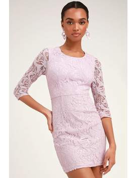 All For You Lavender Lace Bodycon Dress by Lulus