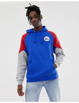 Mitchell &Amp;Amp; Ness Philadelphia 76 Ers Cut And Sew Hoodie In Navy by Mitchell &Amp; Ness