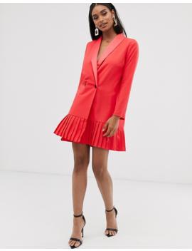 Asos Design Pleat Hem Tux Mini Dress by Asos Design