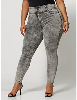 Black Acid Wash High Rise Skinny Jeans by Fashion To Figure