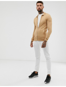 Asos Design Muscle Harrington Jersey Jacket In Tan by Asos Design
