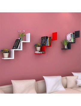 Zerone Creative Wall Mounted W Shelves, Minimalist Modernist Style Floating Shelf Display Storage Modern Home Decor by Zerone