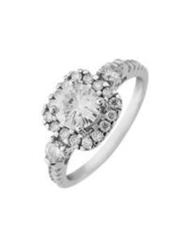 Moissanite 9ct Gold 6mm Centre 1.33ct Total Vintage Style Ring by Moissanite