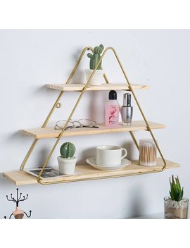 Metal Grid Wall Shelf Hanging Rack Bookcase Storage Holder Floating Display Shelves Round/Rhombus/Triangle/Aircraft Design (Only Wall Shelf) by Hallolure
