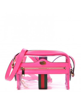 Gucci Vinyl Web Mini Ophidia Transparent Shoulder Bag Fluorescent Fuchsia by Gucci