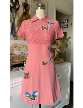 $4400 Valentino Embroidered Butterfly Dress Pink It38 by Valentino