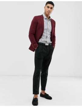 Asos Design Super Skinny Jersey Blazer In Burgundy by Asos Design