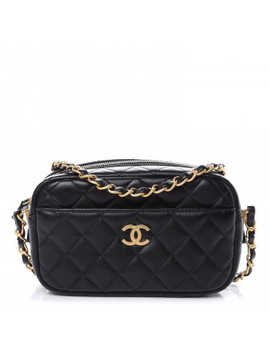 Chanel Lambskin Quilted Small Timeless Camera Case Black by Chanel