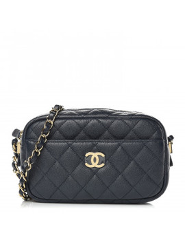 Chanel Caviar Quilted Camera Case Navy by Chanel