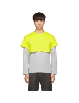 Yellow & Grey 2 Tone Long Sleeve T Shirt by Comme Des GarÇons Shirt