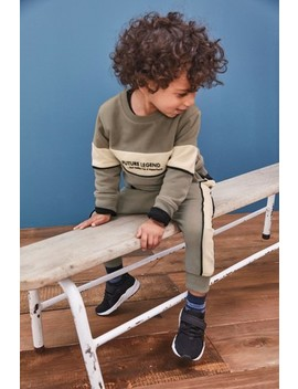 Tan Colourblock Crew And Joggers Set (3mths 7yrs) by Next