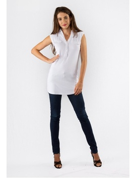 Bamboo Sleeveless Tunic White by Zhai Eco Collection