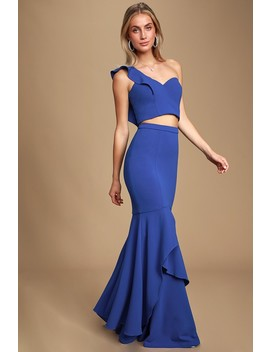Ariana Cobalt Blue Two Piece Dress by Bariano