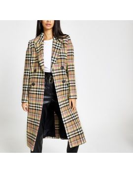 Brown Check Double Breasted Longline Coat by River Island