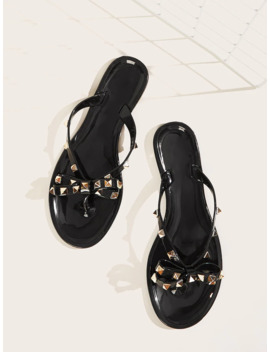Studded Bow Decor Flat Sliders by Sheinside