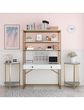 Cosmo Living Billie Metal Desk Etagere, White Gold by Cosmo Living By Cosmopolitan