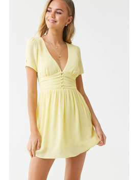 Shirred Button Loop Mini Dress by Forever 21
