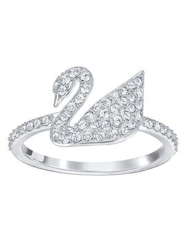 Iconic Swan Ring, White, Rhodium Plating by Swarovski