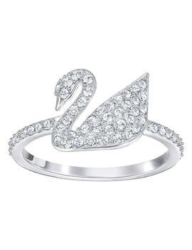 Iconic Swan Ring, White, Rhodium Plating by Swarovski