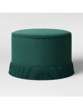 Vintage Round Ottoman Upholstered Chair Seat Green Velvet Finish Boho Style New by Opalhouse
