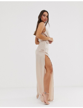 Pretty Little Thing – Exklusives Maxikleid Mit Ringdetail An Der Schulter, In Austerngrau by Asos