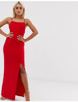 Club L London Petite – Wadenlanges Kleid Mit Eckigem Ausschnitt In Rot by Asos