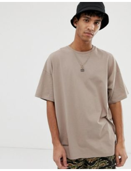 Asos Design – Oversized T Shirt Mit Rundhalsausschnitt In Beige by Asos