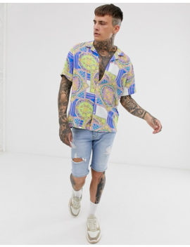 Asos Design Short Sleeve Relaxed Fit Shirt In Neon Baroque Print by Asos Design