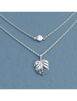 Orig. 31.00 / Pre Layered, Monstera Tropical Leaf Silver Plated Necklace, Dainty by Etsy