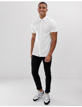 Asos Design Muscle Fit Short Sleeve Button Through Jersey Polo In White by Asos Design