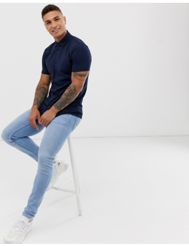 Asos Design Muscle Fit Button Through Jersey Polo In Navy by Asos Design