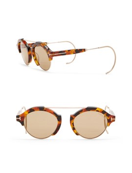 Farrah 49mm Round Browbar Sunglasses by Tom Ford