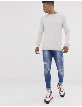 Pull&Amp;Bear Crew Neck Sweater In White Pearl by Pull&Bear