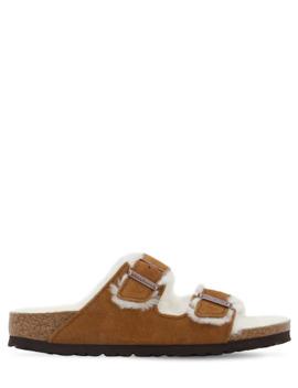 Arizona Suede &Amp; Shearling Sandals by Birkenstock