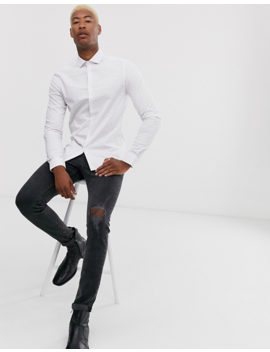 Asos Design Tall Slim Fit Shirt In Red &Amp; Blue Dot Print by Asos Design