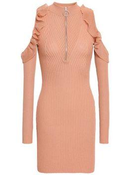 Cold Shoulder Ribbed Cotton Blend Mini Dress by Self Portrait