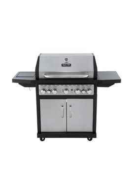 5 Burner Propane Gas Grill In Stainless Steel And Black With Side Burner And Rotisserie Burner by Dyna Glo