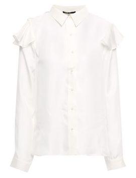 Cutout Ruffled Silk Twill Shirt by Maje