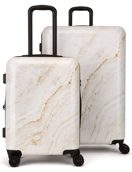 Gold Marble 30 Inch &Amp; 22 Inch Hard Side Spinner Suitcase &Amp; Carry On Set by Calpak