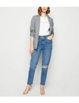 Blue Ripped Waist Enhance Slim Mom Jeans by New Look
