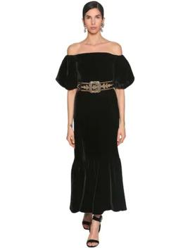 Off Shoulder Velvet Midi Dress by Etro